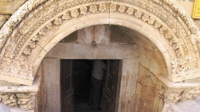 The sunken entrance to the Buyuk hamam (Great Turkish Bath) in Nicosia, North Cyprus