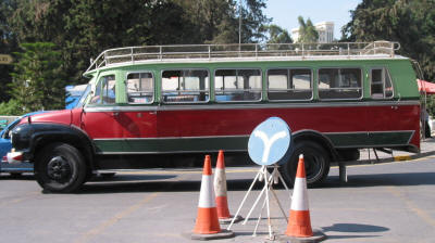 The old Bedford bus used for the tours of south Nicosia, Cyprus
