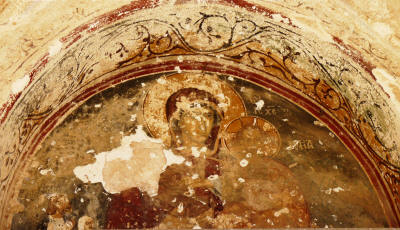 Fresco of the Virgin Mary at the porchway of Panaya Kanakaria church, North Cyprus
