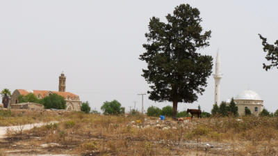 The area between the church and mosque