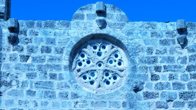 The rose window and flagstaff holders at the Templars church Famagusta, North Cyprus