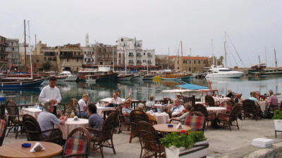 A harbourside cafe at Kyrenia, North Cyprus