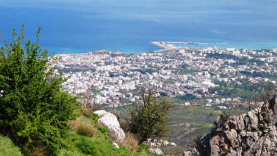 View form St Hilarion Castle, looking over Kyrenia, North cyprus