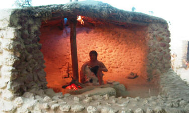 A reproduction of a Vrysi house, which can be seen at Kyrenia castle.