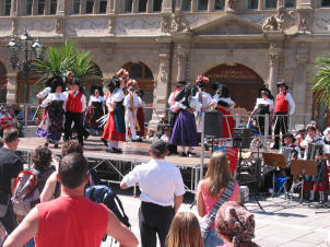 Folk dancing in Gutenburg Square