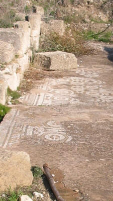 Mosaic pavement at St Epiphanios' Basilica, Salamis, near famagusta, North Cyprus